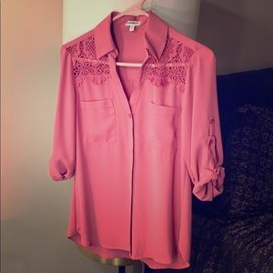 Pink Button Down Blouse Express